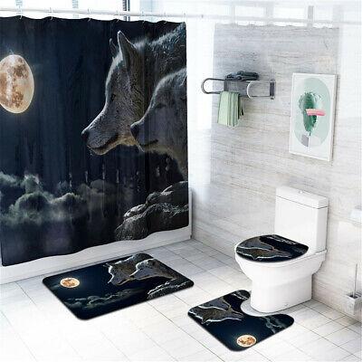4Pcs Set Wolf Shower Curtain Bath Mat Toilet Lid Cover Waterproof Home Bathroom Bath