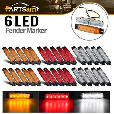 10Amber 10Red 10White 6LED Bus Van Trailer Side Marker Indicators Lights Sealed