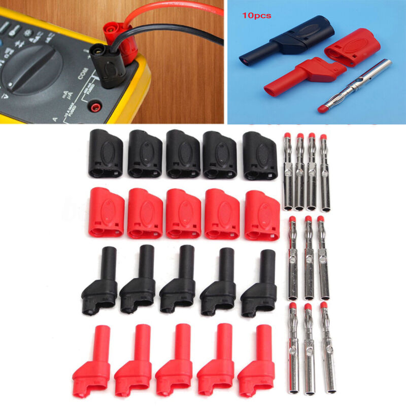 10pcs Red Black Fully Insulated 4mm Male Stackable Banana Pl