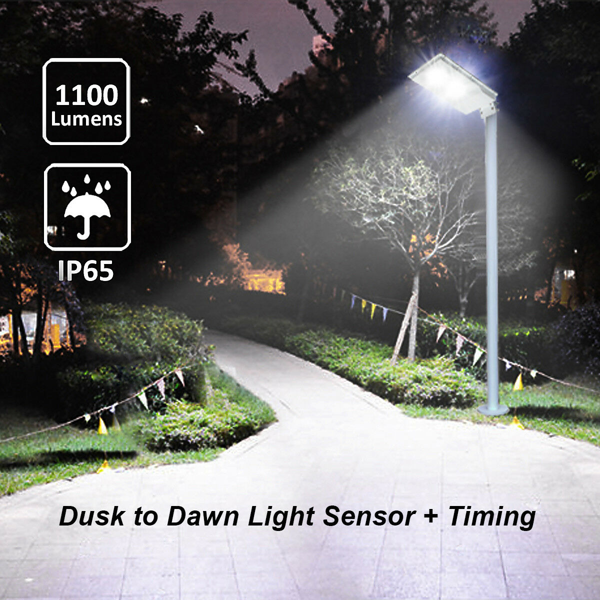 1100LM LED Solar Powered Street Light Outdoor Pole Mount Pos