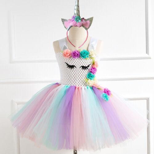 Unicorn Girls Tutu Dress+Headband Kids Princess Birthday Party Cosplay Costume