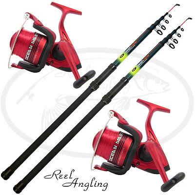2x 12ft Telescopic Beachcaster Sea Fishing Rods & Reel Combo NGT OceanMaster 70