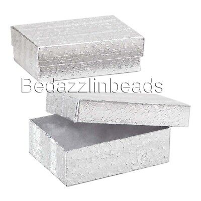 10 Small Silver Cotton Filled Jewelry Gift Boxes Wrapped Metallic Paper 3x2x1