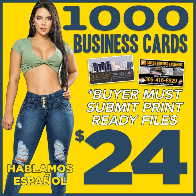 1000 Double Sided Glossy Business Cards (With Your Print Ready Files)