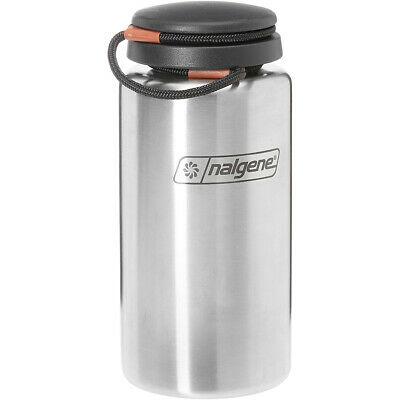 6bc71a5211 Nalgene Standard Wide Mouth Tethered Lid Water Bottle - 38 oz. - Stainless  Steel