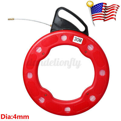 Fiber Glass Fish Tape Reel Puller 4mm30m Fiberglass Electrical Wire Cable Us