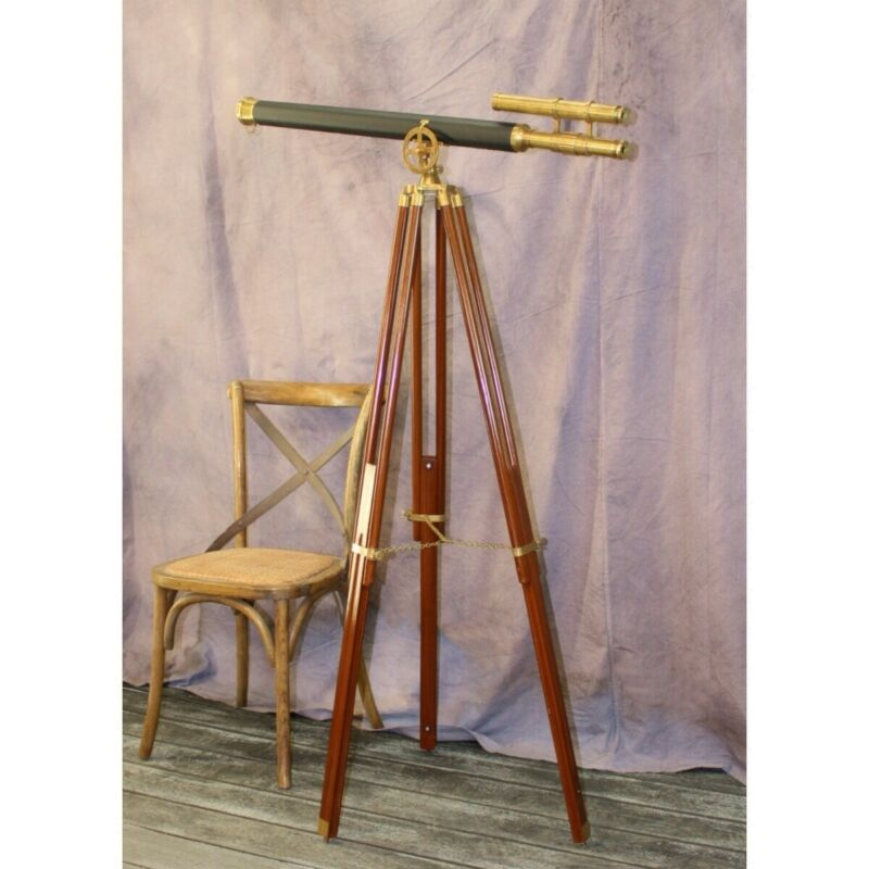 "Telescope Adjustable Stand Vintage Style Black Leather and Brass 63 "" Two Scope"