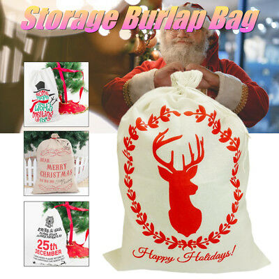 Christmas Santa Gift Sack Cloth  Large Stocking Storage Burlap Bag Bundle Mouth