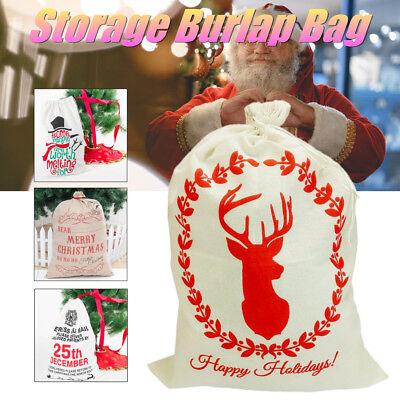 Santa Christmas Stocking - Christmas Santa Gift Sack Cloth  Large Stocking Storage Burlap Bag Bundle Mouth