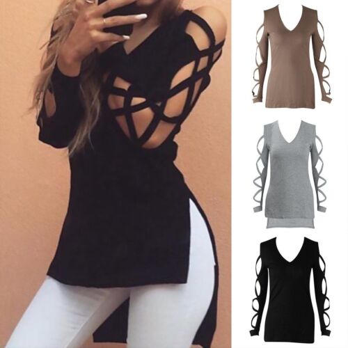 moda da donna, estate t-shirt manica lunga Casual Maglia Larga Cotone T SHIRT