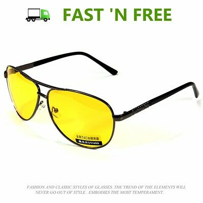 HD POLARIZED YELLOW LENS Day Night Vision Aviator Glasses Night Driving Glasses (Yellow Polarized Glasses)