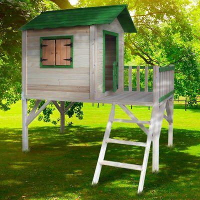 BRAST Spielhaus für Kinder mit Balkon Stelzenhaus Garten Baum Turm Holzhaus