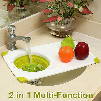 2 In 1 Kitchen Sink Chopping Cutting Board Folding Drain Basket Cutting Boards