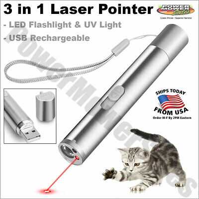 Battery Usb Rechargeable 3 In 1 Laser Pointer Led Flashlight Cat Toy