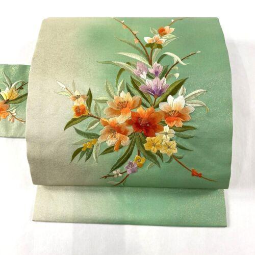 "Japanese Kimono SILK Nagoya OBI, Embroidery, a branch of Flowers, L143""..1872"