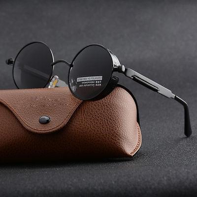 Mens Steampunk Polarized Sunglasses UV400 Brand Design Round Sun glasses (Mens Eyewear Brands)