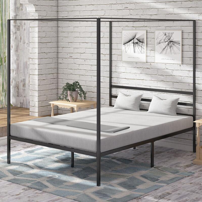 "YITAHOME Metal Canopy Bed Frame Headboard Platform 14"""