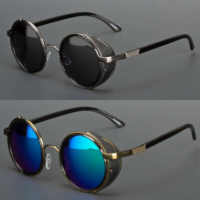 Vintage Retro Mirror Round SUN Glasses Goggles Steampunk Punk Sunglasses (Round Mens Sunglasses)