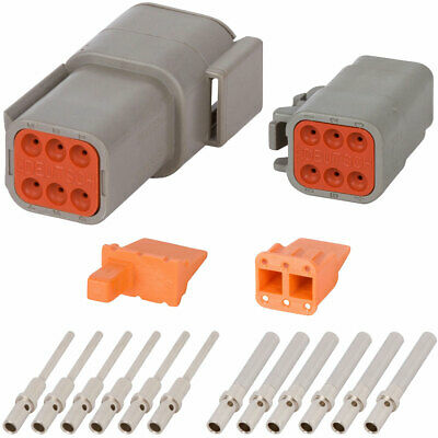 Deutsch Dtm 6 Pin Gray Connector Kit W 20 Awg Solid Contacts