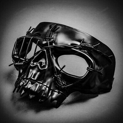Half Halloween Costumes (SteamPunk Black Skull Halloween Half Face Party Costume Mask with Elastic)
