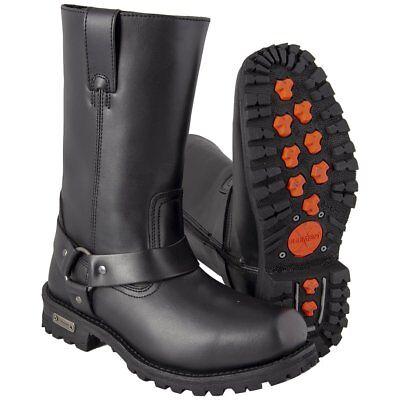 Xelement X19775 Men's Black Harness Motorcycle Full Grain Leather Biker Boot