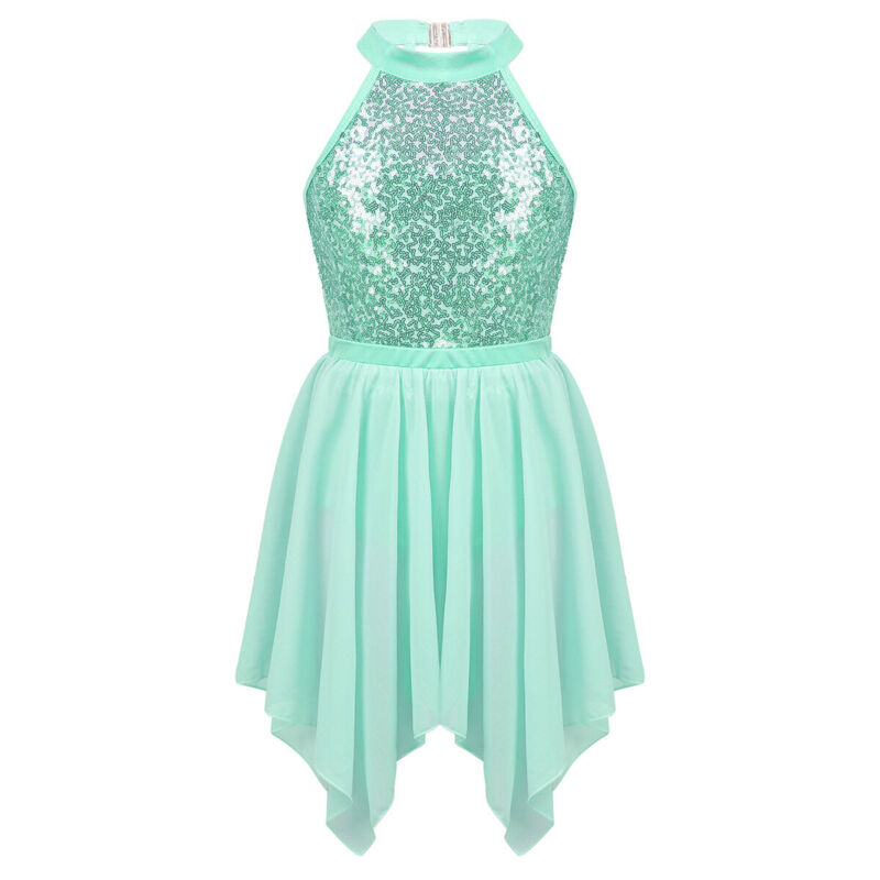 iEFiEL Kids Girls Shiny Sequins Ballet Tutu Dress Lyrical Dance Costume Halter Mock Neck Irregular High Low Dance Dress
