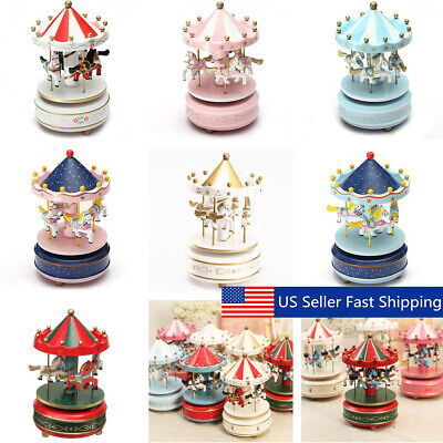 Wooden + Plastic Merry-Go-Round Carousel Music Box Christmas Birthday Gift Toy  Christmas Carousel Music Box