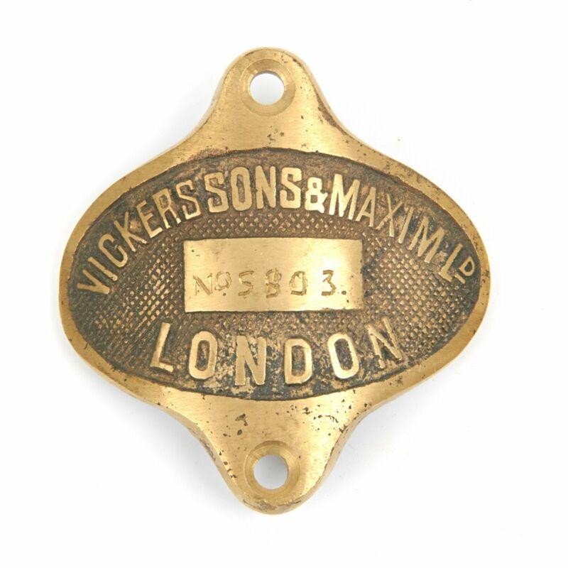 British WWI Vickers-Maxim Tripod  Heavy Brass Data Plate