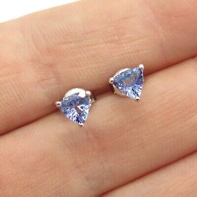 925 Sterling Silver Real Tanzanite Gemstone Stud Earrings