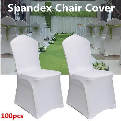 100 Pcs White Chair Cover Spandex Lycra Banquet Wedding Party Decor Flat Front