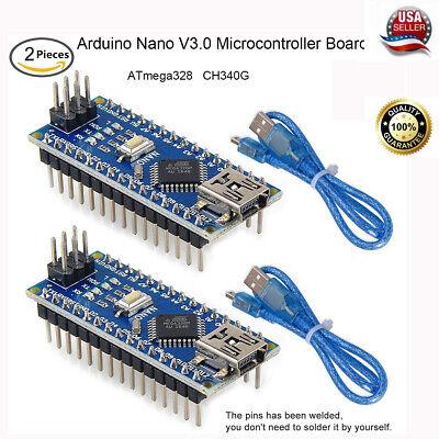 2pcs Nano V3.0 Atmega328p 5v 16mhz Microcontroller Board Ch340g Chip For Arduino
