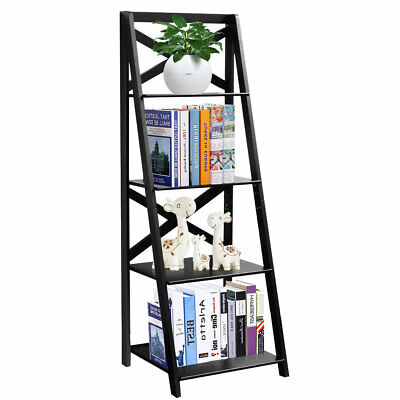 4-Tier Ladder Shelf Bookshelf Bookcase Storage Display Leaning Home Office Decor