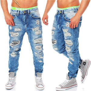 rerock herren jeans denim jogginghose hose pant zerrissen sweatpant perver. Black Bedroom Furniture Sets. Home Design Ideas