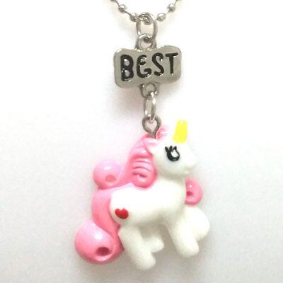 1 Set Halsketten Freundschaftsketten Einhorn, Pink Weiß, 2 Stück Schmuck