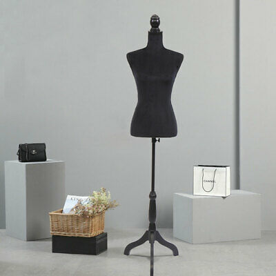 Female Mannequin Torso Clothing Display Rack Clothes Stand W Black Flannel
