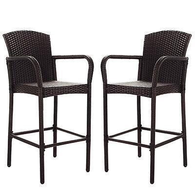 2 PCS Rattan Wicker Bar Stool Dining High Counter Chair Pati