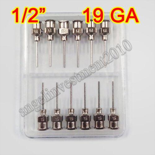 "12pcs 1/2"" 0.5 inch 19GA Blunt stainless steel dispensing syringe needle tips"