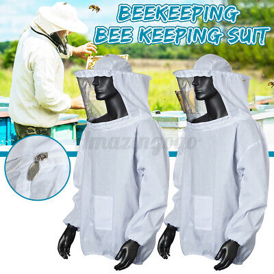 2x Beekeeping Jacket Bee Keeping Suit Pull Over Hat Sleeve Veil Smock White
