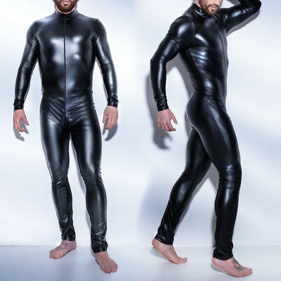 atsuits Wet Look Zentai Bodysuits Zipper Jumpsuit for Men (Herren Zentai)