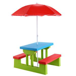 4 Seat Kids Picnic Table W/Umbrella Garden Yard Folding Children Bench  Outdoor
