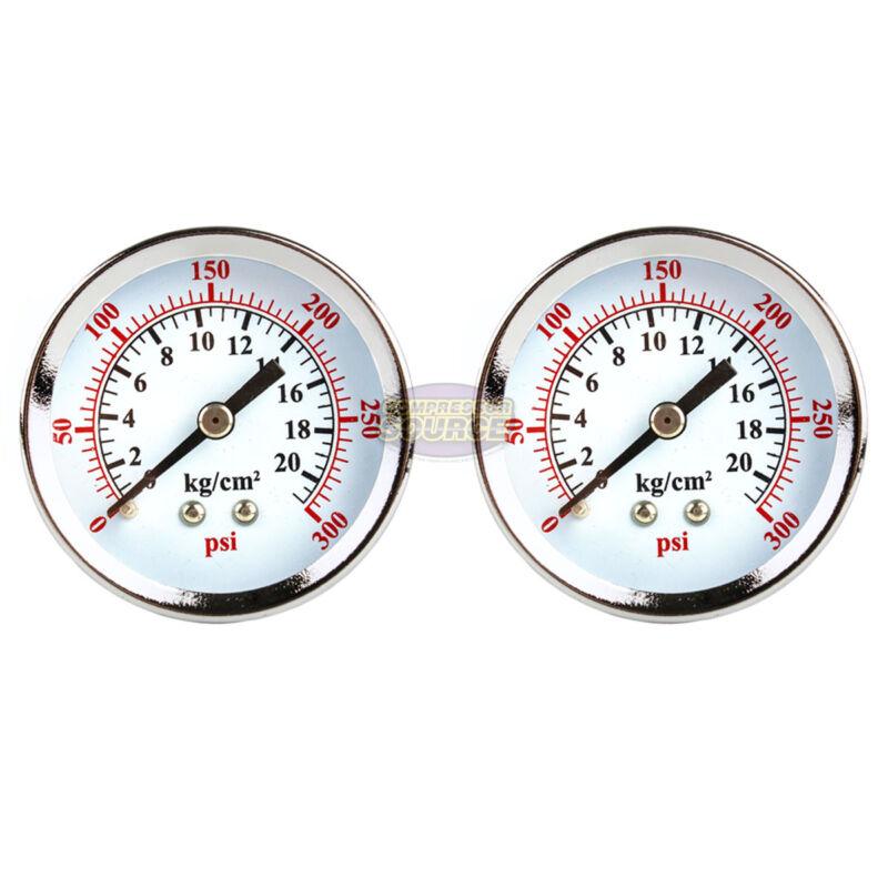 "2 Air Compressor Pressure Hydraulic Gauges 2"" Face Back Mount 1/4"" NPT 0-300 PSI"