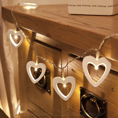UK BATTERY 10 WARM WHITE STRING LIGHTS LED STRINGS OPERATED WOODEN HEART FAIRY