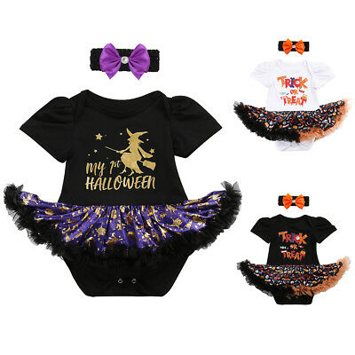 My First Halloween Costume Newborn Baby Girl Pumpkin Fancy Dress Up Cosplay - Newborn Girl Halloween Costumes
