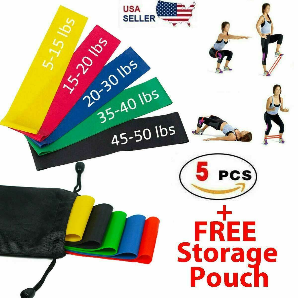 Workout Resistance Bands Loop Set CrossFit Fitness Yoga Booty Leg Exercise Band Fitness Equipment & Gear