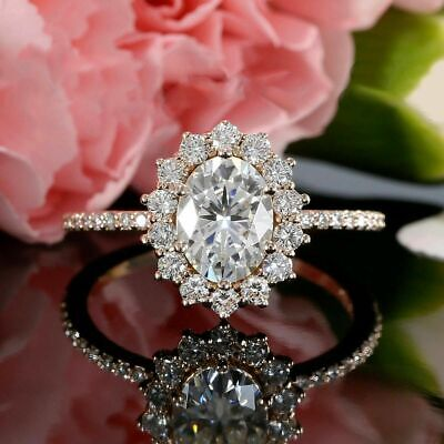 - Delicated 2.35Ct Oval Cut VVS1 Diamond Halo Engagement Ring 14K Rose Gold Finish