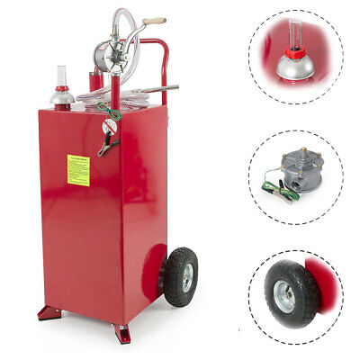 Portable 30 Gallon Gas Caddy Automotive Fluid Gasoline Fuel Transfer Tank w/Pump