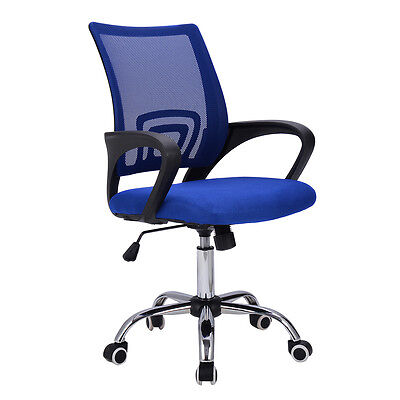 Modern Mesh Mid-back Office Chair Computer Desk Task Ergonomic Swivel Blue New