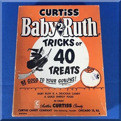 BABY RUTH BAR CURTISS CANDY HALLOWEEN TRICKS OR TREATS 2 CENTS STORE DISPLAY BOX - Halloween Candy Store