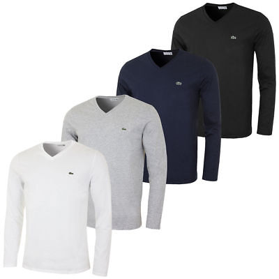 NEW MENS LACOSTE LONG SLEEVE REGULAR FIT PIMA JERSEY V-NECK T-SHIRT, $59.50