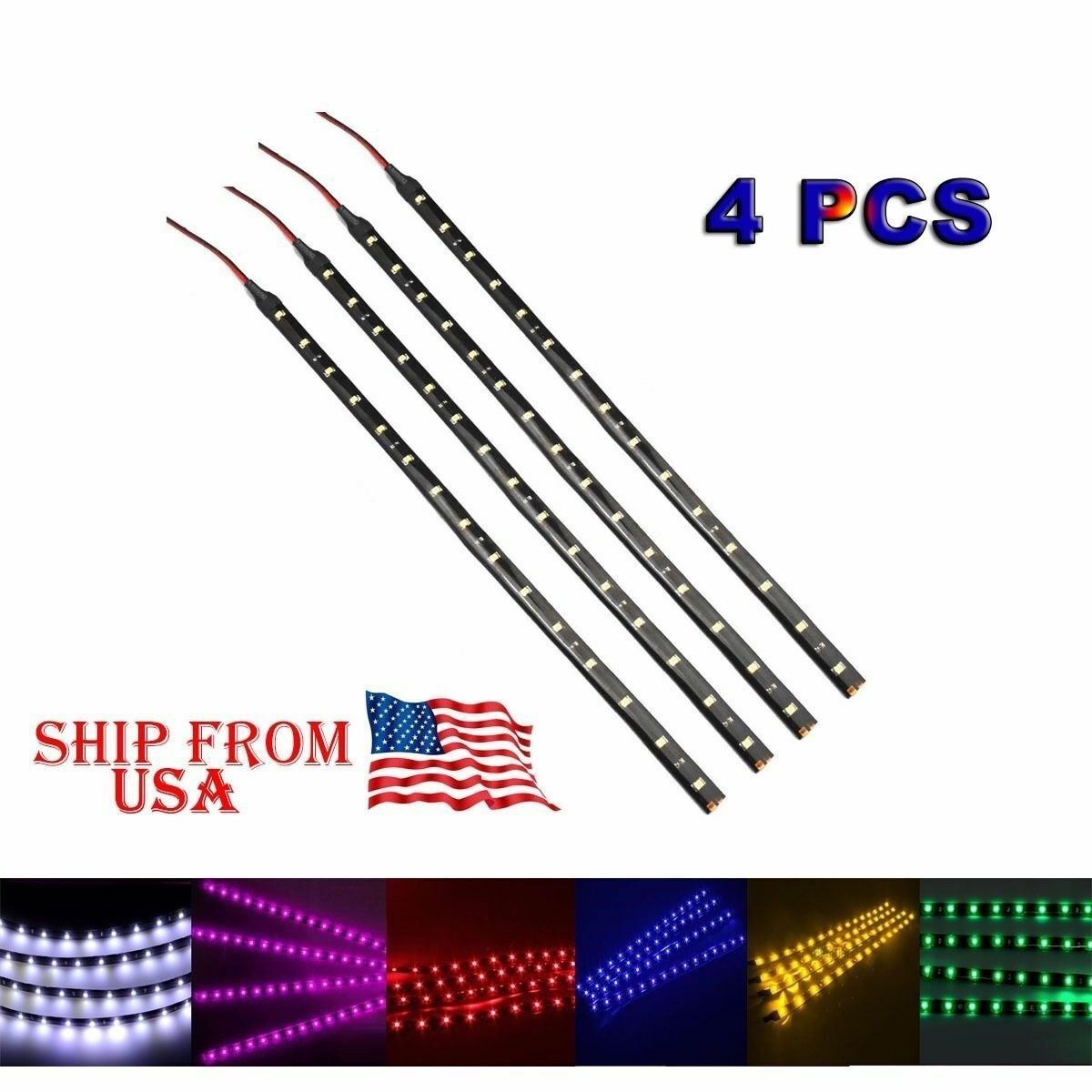 "4 PCS 12V 12"" 1FT 15SMD Flexible LED Strip Light Waterproof"